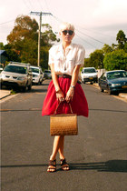 red rayon DIY skirt - camel crocodile vintage bag