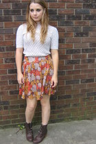 burnt orange floral skirt - brown boots - peach lace bib  bow vintage sweater