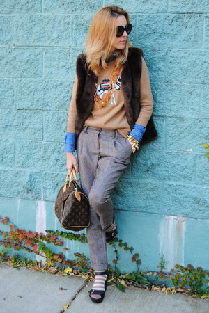 dark brown Anthropologie vest - bronze JCrew sweater