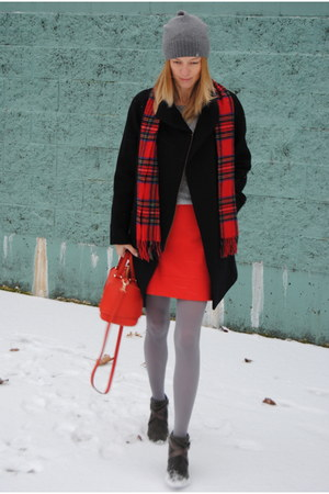 red Furla bag - black JCrew coat - red JCrew skirt