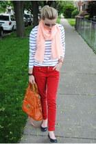orange Marshalls bag - orange Zara scarf - red Marshalls pants