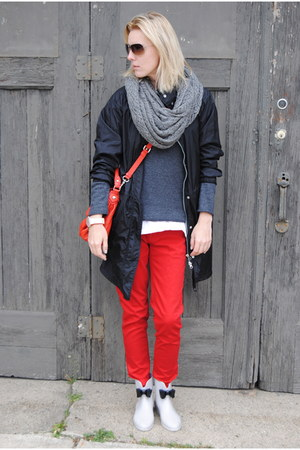 charcoal gray H&M sweater - red Marshalls pants