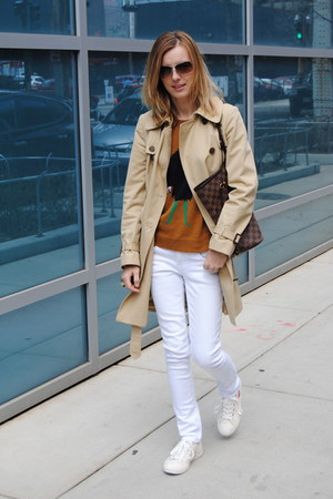 camel JCrew coat - cream JCrew sneakers