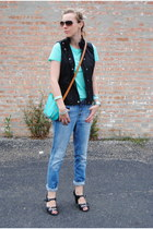 blue united colors of benetton jeans - black Nine West shoes