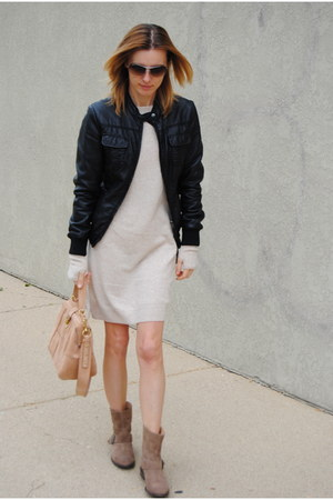 tan Zara boots - beige united colors of benetton dress - tan JCrew bag