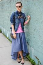 blue TJ Maxx skirt - navy Gap jacket - navy JCrew necklace
