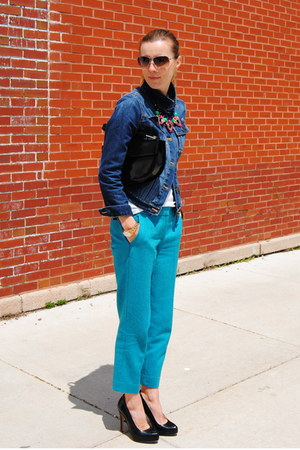 navy Gap jacket - turquoise blue JCrew pants