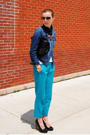 navy Gap jacket - turquoise blue JCrew pants