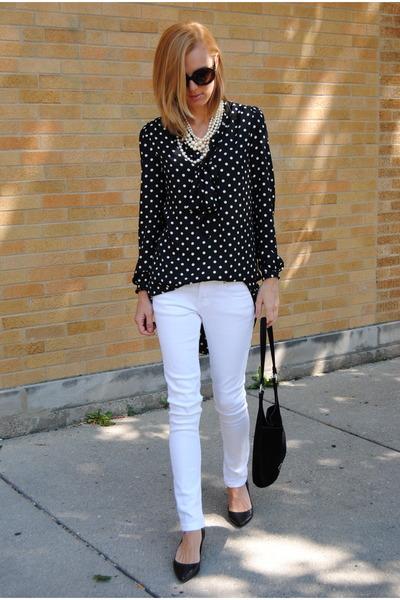 black Forever 21 top - white Marshalls pants