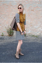 burnt orange JCrew jacket - light brown Zara boots - white JCrew dress