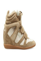 Upere Wedge Sneakers Suede Chestnut White