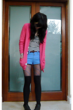 blue American Apparel shorts - pink American Apparel cardigan - white American A