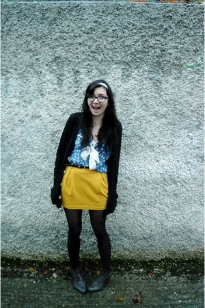 turquoise blue thrifted blouse - mustard asos skirt - black American Apparel car