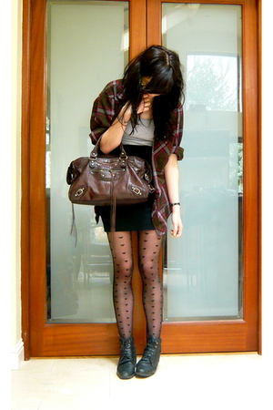 black combat vintage boots - red plaid vintage shirt - black Topshop tights