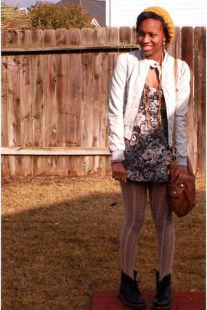 gray H&amp;M jacket - gray Zara dress - white Urban Outfitters tights - black doc ma
