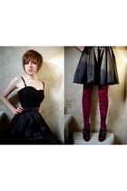 pink Betsey Johnson tights - black H&M dress - black Second Hand Store belt - bl