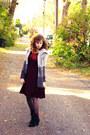 Crimson-bb-dakota-dress-charcoal-gray-the-loft-cardigan