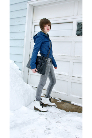 blue H&M jacket - gray Cheap Monday jeans - white doc martens boots - gray Shaun