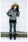 Heather-gray-victorias-secret-jacket-black-khombu-boots-gray-target-stocking