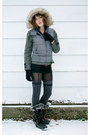 Heather-gray-victorias-secret-jacket-black-khombu-boots-gray-target-stocking