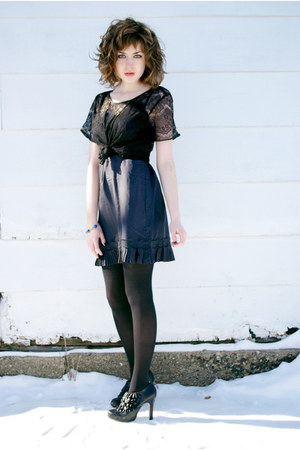 black lace American Apparel blouse - black HUE tights - black Steve Madden heels