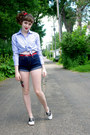 Blue-bengal-stripe-cant-remember-shirt-navy-levis-shorts-red-unknown-belt