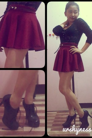 maroon skater skirt - black leather thrifted boots - black lace thrifted sweater