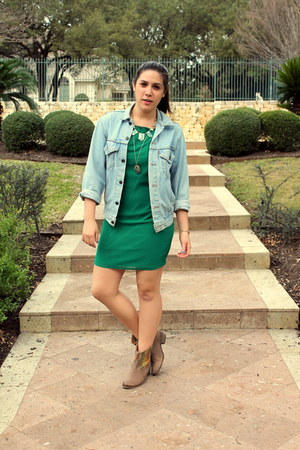 teal Ark & Co dress - light brown Steve Madden boots - light blue Levis jacket