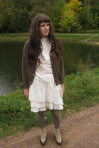 vintage blazer - Calzedonia tights - thrifted boots - SoFrench blouse - Etsy ski