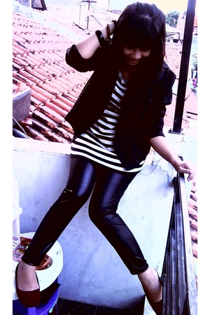 black Endorse blazer - black jojo leggings - black Orange top