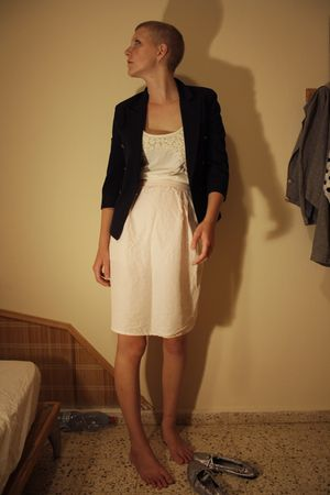 pink second hand skirt - black second hand blazer - white Topshop dress - silver