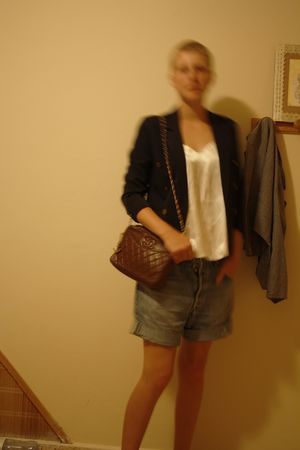 black second hand blazer - white second hand - blue second hand shorts - brown m