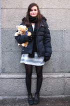 black Fun & Basics scarf - black nike jacket - silver Zara dress - black Zara gl