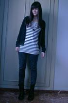 black Zara cardigan - white H&M t-shirt - black Zara jeans - black Mango boots -