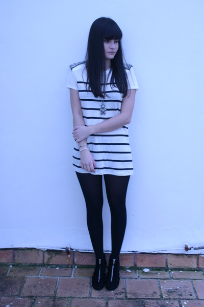 white Zara dress - silver necklace - black tights - black H&M shoes