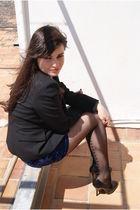 black Zara blazer - blue Topshop skirt - black Topshop tights - black D&G shoes
