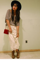white vintage skirt - gold Jeffrey Campbell shoes - silver H&M sweater