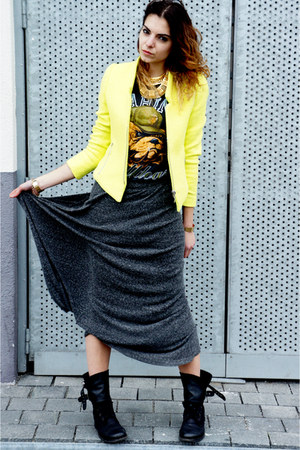 chartreuse Zara blazer - black All Saints boots - black bf t-shirt