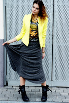 chartreuse Zara blazer - black All Saints boots - black bf t-shirt