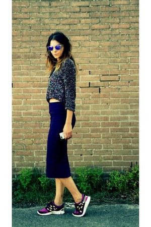 asos skirt - sequins Zara vest - nike sneakers