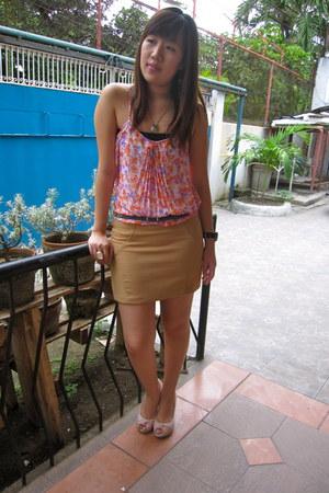 orange Zara top - camel Topshop skirt