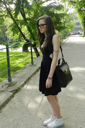 white Zara shoes - black asos dress - black Zara bag - dark gray H&M bracelet