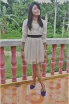 blue Behen flats - off white Yesstyle dress - light pink Penshoppe necklace