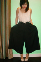 neutral VANTANmanila blouse - black wide leg VANTANmanila pants - neutral patent