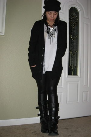 American Apparel leggings - Zara sweater - DIY shirt - Steve Madden boots - Marc
