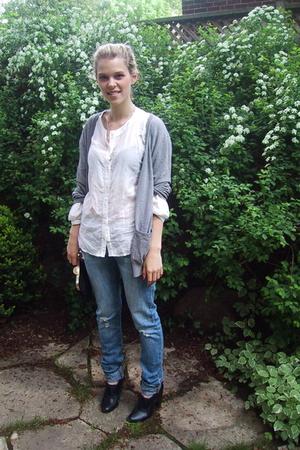 black H&M shoes - Nitrogen jeans - gray H&M sweater - white H&M blouse