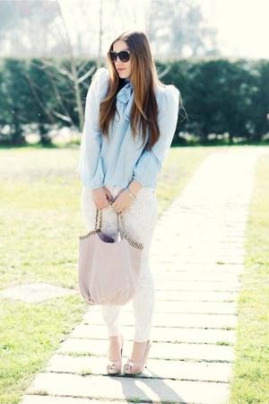 light pink Laura bag - aquamarine carolinaemme shirt - sky blue H&M pants