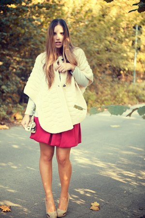 hot pink gazel skirt - camel Bershka coat - camel Burberry bag