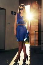 blue H&M dress - black Ray Ban sunglasses - bronze Gessica Simpson wedges