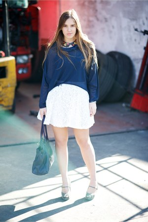 blue verysimple sweater - cream H&M skirt - heather gray cinti heels